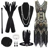 FEPITO 1920er Jahre V-Ausschnitt Pailletten Perlen Fransen Kleid mit 20er Jahren Zubehör Set (black...
